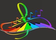 Notas y teclado de la música Fotografía de archivo libre de regalías