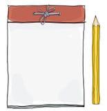 Notastootkussen en gele potloodillustratie Stock Afbeeldingen