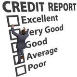 Notation de rayure de crédit de construction d'homme d'affaires vers le haut photos libres de droits