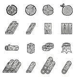 Notation et ensemble en bois d'icône Ligne mince vecteur d'actions de style illustration stock