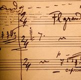 Notation musicale manuscrite photos stock