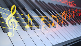 Notation over piano keyboard Stock Photo