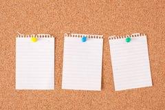 notatka deskowy korkowy papier Zdjęcia Stock