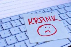 Notatka na komputerowej klawiaturze: choroba Zdjęcie Royalty Free