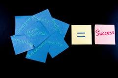 Notatka pomyślna osoba Przypomnienie ilości które prowadzą sukces fotografia royalty free