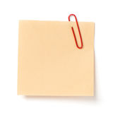 Notatka z papierową klamerką Obraz Stock