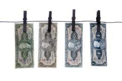 Notatki, banknoty, stary Brazylijski pieniądze na clothesline Zdjęcia Stock