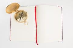 Notatki biały papier i kompas Obraz Royalty Free