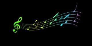 Notatki, klepka w powietrzu Melodia na czarnym tle muzyki nagrywać notatki ilustracja wektor