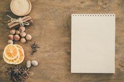 Notatnik dla pisać przepisie lub menu tło kulinarny zdjęcie stock
