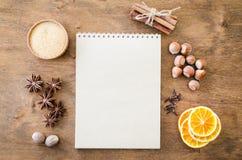 Notatnik dla pisać przepisie lub menu tło kulinarny obrazy royalty free
