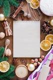 Notatnik dla pisać przepisie lub menu tło kulinarny zdjęcie royalty free