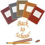 Notatnik, gumka, ołówki, władcy abd z powrotem Obraz Stock