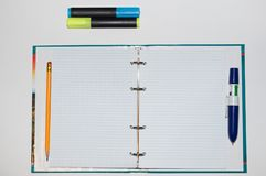 Notatnik i materiały fotografia stock