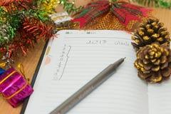 Notatnik na drewnianym stole Zdjęcie Royalty Free