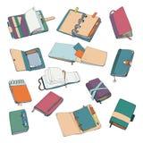 Notatnik, notepad, planista, organizator, sketchbook ręka rysujący set Kolekcja kolorowe ilustracje ilustracja wektor