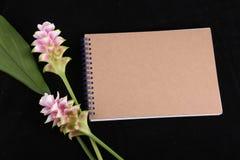 Notatnik pamięć z kwiatem Fotografia Royalty Free