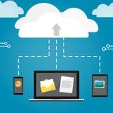 Notatnik pastylki i telefonu upload chmurnieje składowego wektor Obraz Stock