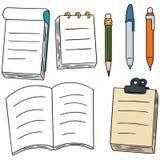 Notatnik, pióro i ołówek, ilustracji