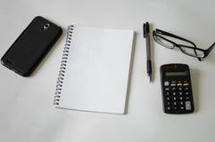Notatnik, pióro, szkła i rama, Zdjęcie Stock