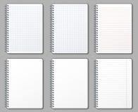 Notatnik strona Prążkowane i kropkowane strony, notatniki binded na metalu ruszać się po spirali szkotowego mockup szablonu wekto royalty ilustracja