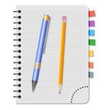 Notatnik z barwionymi bookmarks, błękitnym piórem i koloru żółtego ołówkiem, Zdjęcia Royalty Free