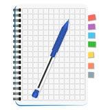 Notatnik z barwionymi bookmarks i błękitnym piórem Zdjęcie Stock
