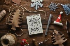 Notatnik z dekoracją w nowego roku temacie obraz stock