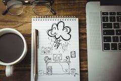 notatnik z laptop grafika i kawą Zdjęcia Stock