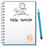 Notatnik z nakreśleniem stołowy gracz w tenisa Fotografia Stock
