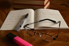 Notatnik z piórem i szkłami, rozwija pamięć Obrazy Stock