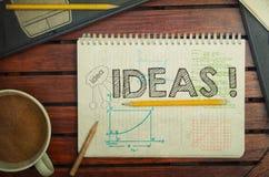 Notatnik z tekstem wśrodku pomysłów na stole z kawą, notatnik a Obraz Stock