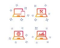 Notatnika laptopu komputeru osobistego ikony Remontowa dylemat us?uga wektor ilustracja wektor
