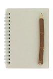 notatnika ołówek przetwarzający drewniany Fotografia Stock