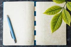 Notatnika papier z teksturą, żółty liść Zdjęcia Stock