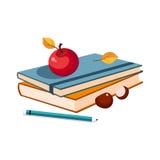 Notatniki, Apple, ołówek, set szkoła I edukacja Odnosić sie, Protestują W Kolorowym kreskówka stylu Zdjęcie Royalty Free