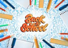 Notatniki z deferent ołówkami w realistycznym stylu z literowanie tekstem z powrotem szkoła Szkolne doodle ilustracje wektor ilustracja wektor