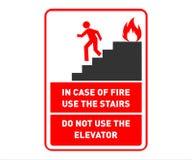 Notausgang-Sicherheits-Zeichen-Entwurf - Gebrauchs-Treppe falls - bedruckbares Sicherheits-Wand-Plakat vektor abbildung