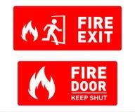 Notausgang-Zeichen-Schablone entwirft - bedruckbare Sicherheits-Zeichen und Symbole stock abbildung