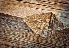 Notch in old wood Royalty Free Stock Photos