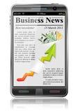 Notícia de negócio no telefone esperto Fotografia de Stock