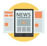 Notícia na linha projeto do vetor do conceito do negócio Fotos de Stock