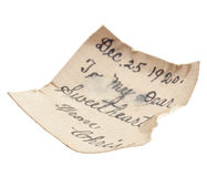 Note From 1920 Royalty Free Stock Image