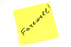 Note. Yellow note paper with inscription farewell on the white board Royalty Free Stock Photography