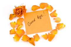 Note. Orange note paper with inscription good bye, rose bud and petals isolated over white Stock Image
