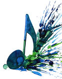 Note. Blue Music note (Ekv painting Stock Photo