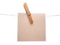 Note. Clothespin note Stock Photos