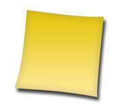 Note. Isolated yellow note on white Stock Images