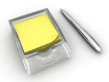 Note. Yellow note near by silvery pencil Stock Images