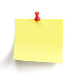 Note. Yellow note with blue pin over white background Royalty Free Stock Photography